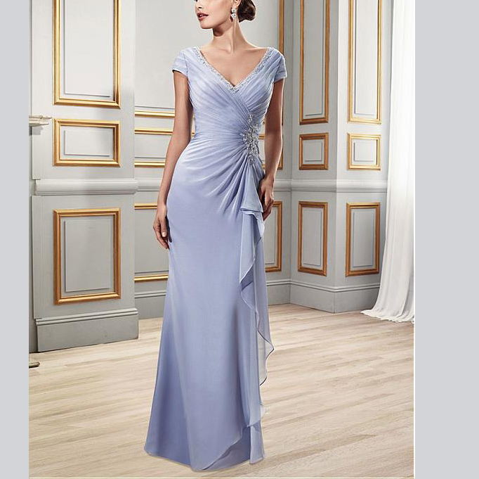 Elegant Deep V-Neck Beading Chiffon V-neck Full-Length Women's Dresses Mother Of The Groom Dresses For Wedding