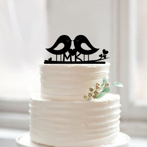 Love Birds Cake Topper Silhouette Wedding Cake Toppers Monogram ...