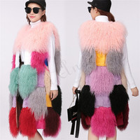 NEW Mixcolored 100CM Long Mongolian Lamb Fur Vest Rabbit Fur Thick Peacock Design Shearling Gilet Women Coat Parka