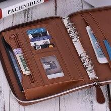 Профессиональная папка для хранения документов из искусственной кожи Padfolio Бизнес Портфель держатель Органайзер с застежкой-молнией слот для карт