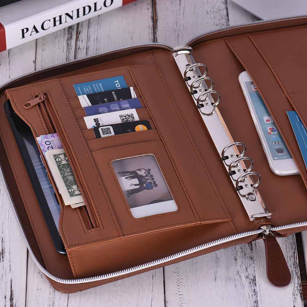 Professional Folder Document Storage PU Leather Padfolio Business Portfolio Holder Organizer With Zippered Closure Card Slot