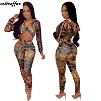 Hoody Bandage Jumpsuits For Women 2019 Spring New Leopard Printed Bodycon Bodysuit Long Pants Hollow Out Sexy Club Wear One Pcs
