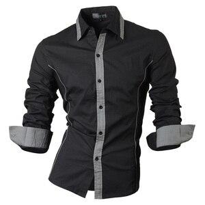 Image 1 - Jeansian אביב סתיו תכונות חולצות גברים מקרית ג ינס חולצה הגעה חדשה ארוך שרוול מקרית Slim Fit זכר חולצות 8015