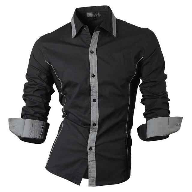 Jeansian אביב סתיו תכונות חולצות גברים מקרית ג ינס חולצה הגעה חדשה ארוך שרוול מקרית Slim Fit זכר חולצות 8015