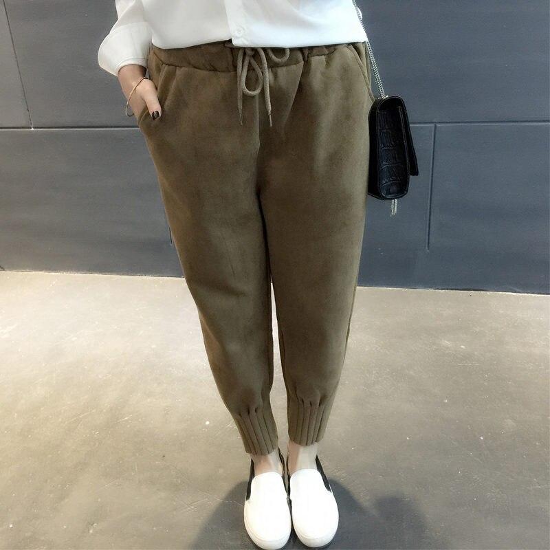 NEW Suede Pants Women Winter Fashion High Waist Harem Pants Sweatpants Pantalon Femme Drawstring Warm Pants Trousers Women C3913