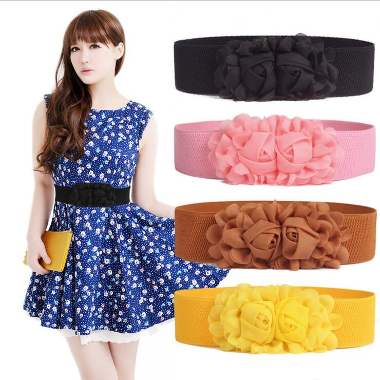Cummerbund Female Double Flowers Chiffon Women's Decoration Elastic Belt