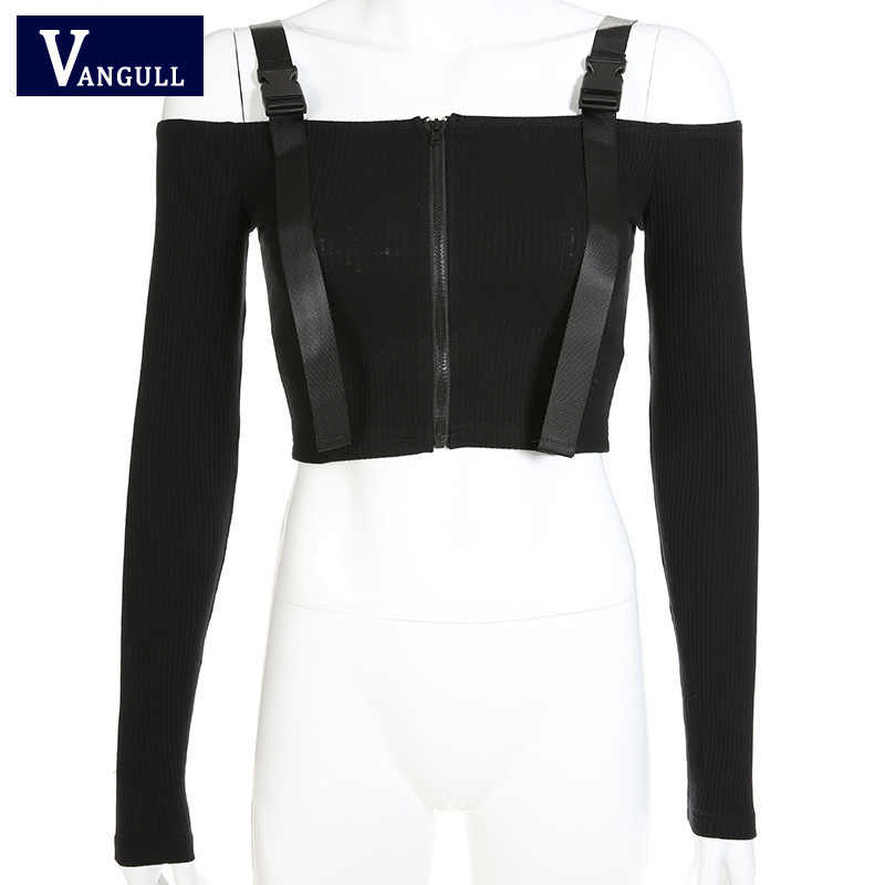 Vangull Verstelbare Gesp Slash Neck Tops Vrouwen Rits Crop Top 2019 Nieuwe Mode Zomer Sexy Lange Mouwen Off Shoulder jas