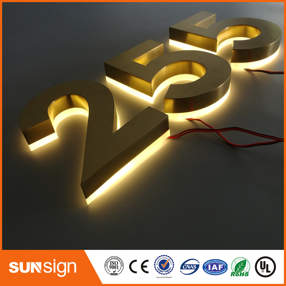Individual Wram Light Golden Halo-lit  Letter Stainless Steel Channel Letter With Acrylic Back For Outdoor House Door Numbers