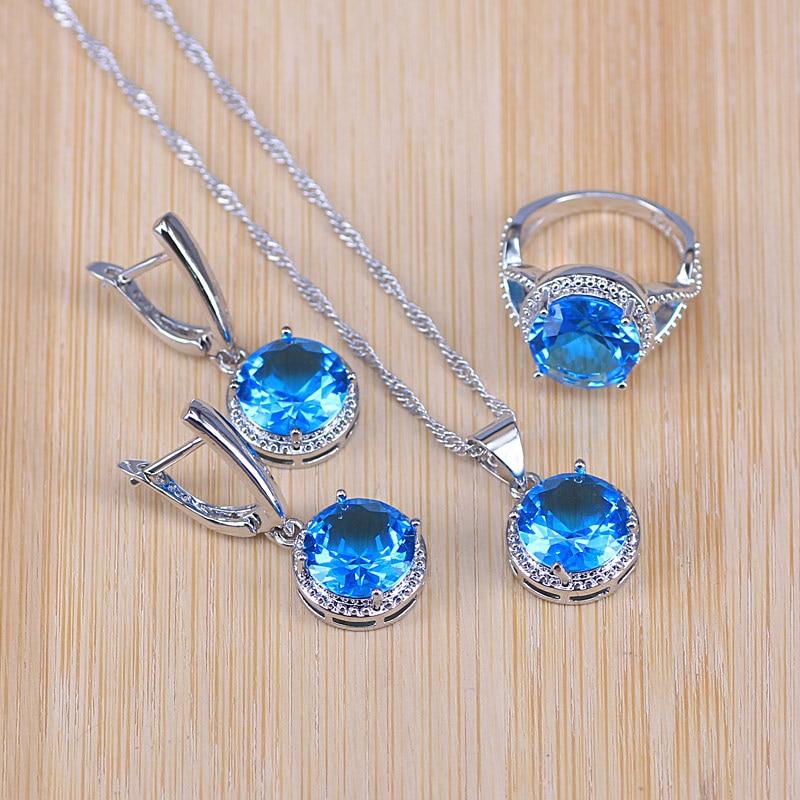 Risenj Big Sale Purple Cubic Zirconia Silver Color Jewelry Set earrings ring necklace set for Women