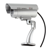 Blinking Red LED Silver Waterproof CCTV False Emulational Outdoor Fake Dummy Security Camera Decoy With IR