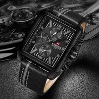 Naviforce İzle erkekler spor lüks üst marka kuvars saatler erkekler için su geçirmez otomatik tarih deri kol saatleri erkek kol saati