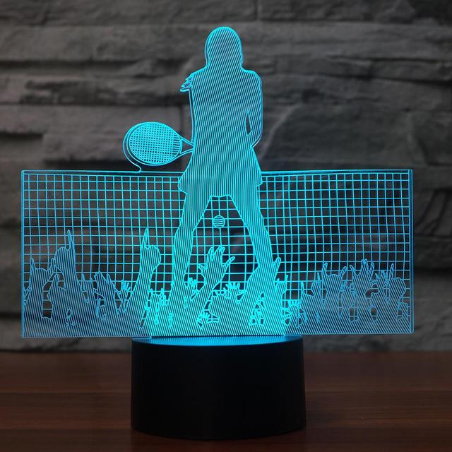 3D LED Superstar Tennis Moulding NightLight USB 7 Colors Changing Sheep Table Lamp Bedroom Sleep Lighting