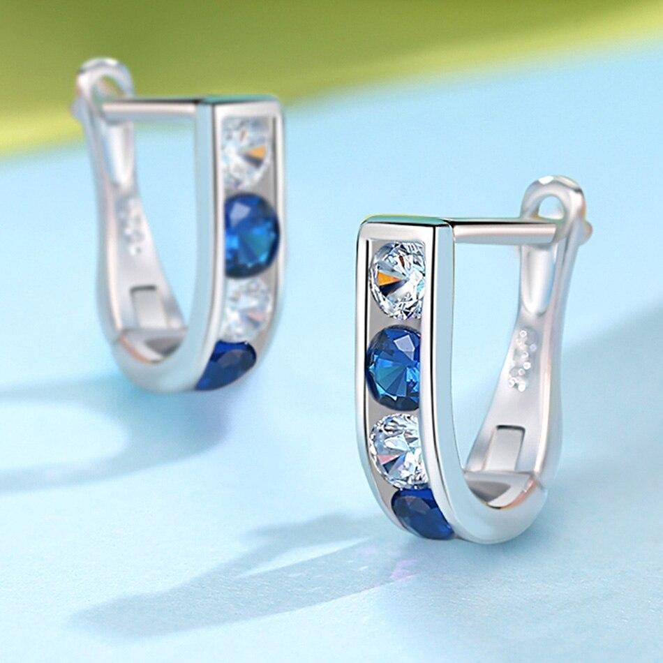 BELAWANG 925 Sterling Silver Sweet Cute Blue Crystal Stud Earrings for Baby Girl Kids Earrings Children Girls Lovely Jewelry