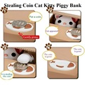 Cute Itazura Stealing Coin Cat Penny Cents Piggy Bank Saving Box Money Box Kids Children Present Gift