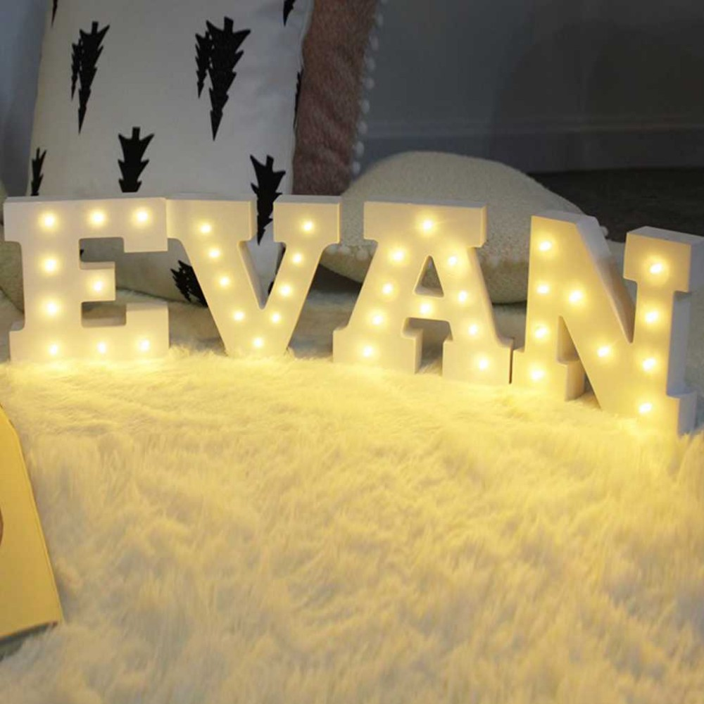 Wooden 26 Letters LED Night Light Festival decorative Lights Party ...