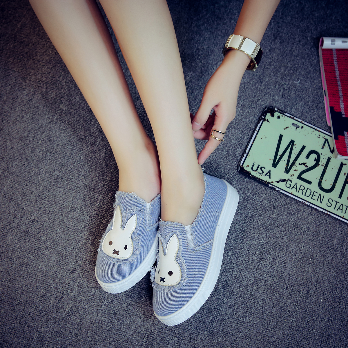 High Quality Women's Jeans Shoes flats Fashion Casual Rabbit Shoes Soft Soles Students Canvas Shoes Breathable Shoe New vintage embroidery women flats chinese floral canvas embroidered shoes national old beijing cloth single dance soft flats