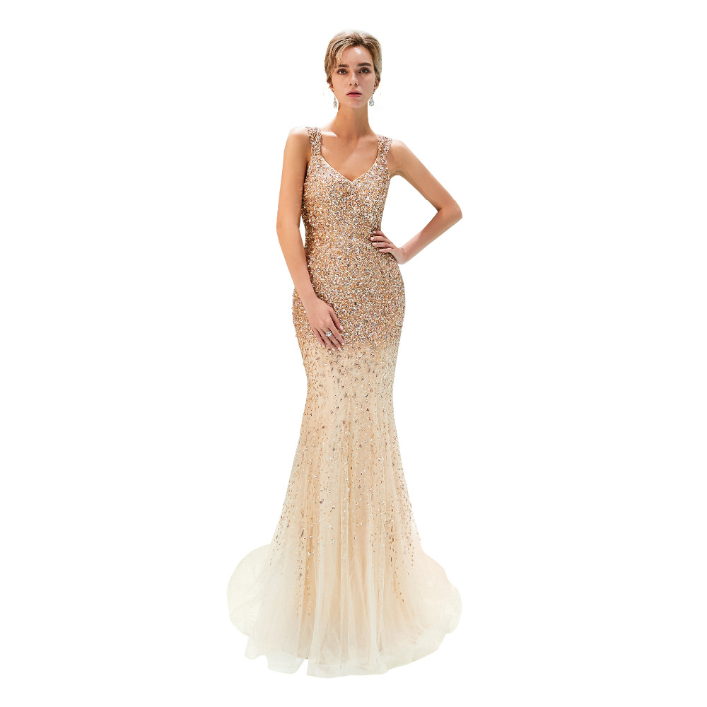 Luxe cristal robe de soirée V décolleté femmes robes de soirée sirène robes de bal 2018 nouveauté