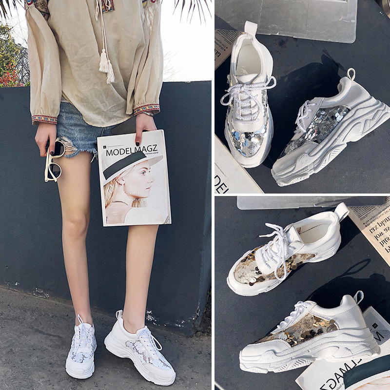 ... Fashion chaussuree Brand Breathable Jookrrix Glitter Mesh Sneakers  Shoes Casual Women Bling Female footware White Women ... 153fe778dee6