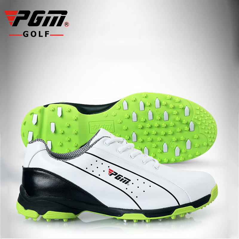 PGM Men Professional Golf Shoes Genuine Leather Waterproof Sport Shoes Light Outdoor Grass Sneakers Golf Shoes Automatic Lace golf putting mat mini golf putting trainer with automatic ball return indoor artificial grass carpet