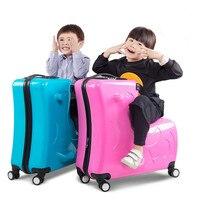 20/24 inch ride children's trolley bag can sit universal wheel Trojan suitcase men women boarding luggage cartoon travel bags