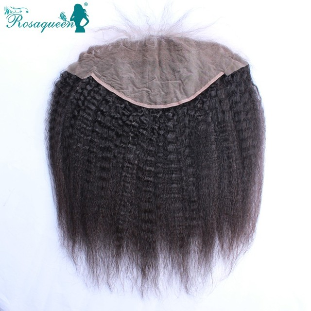 7A Kinky Straight Lace Frontal Closure Brazilian Virgin Hair Lace Frontal Coarse Yaki Straight 13x6 Lace Frontal With Baby Hair