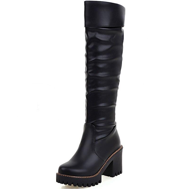 ФОТО 2016 two way to wear winter new lambs wool inside Knight boots women high-heeled knee boots, knee high boots slip on XD206