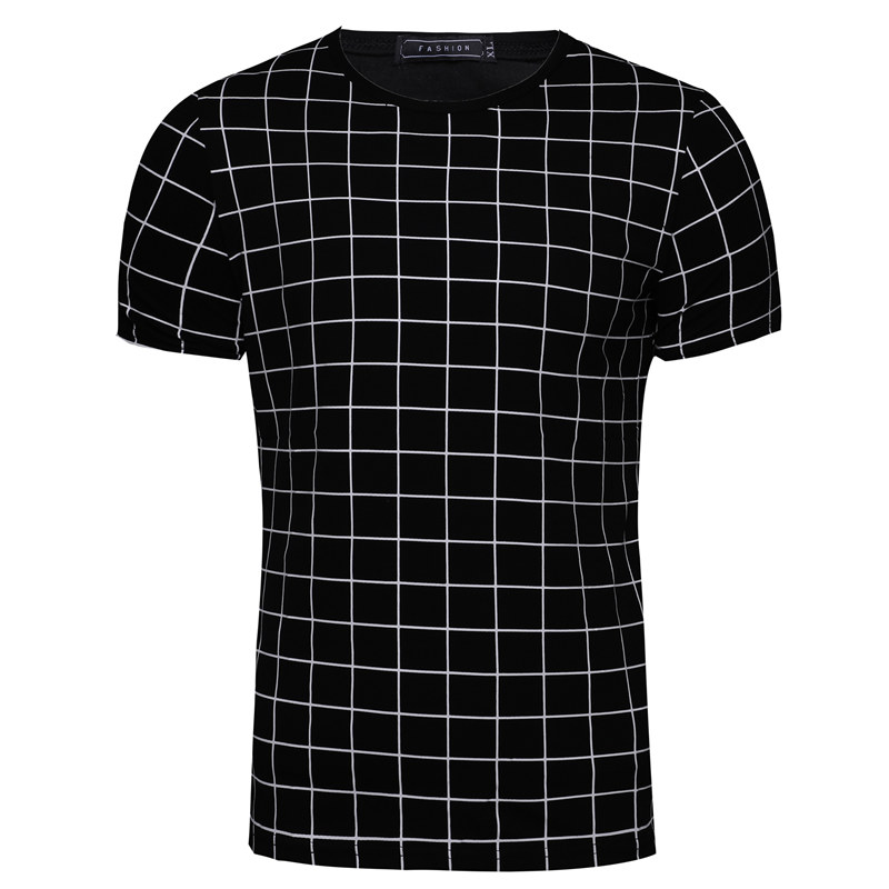 GustOmerD 2018 T Shirt Man's Fashion Plus Size 5XL Black Plaid Short Sleeve T Shirt Mens O-neck Collar Casual Tee Shirt Man