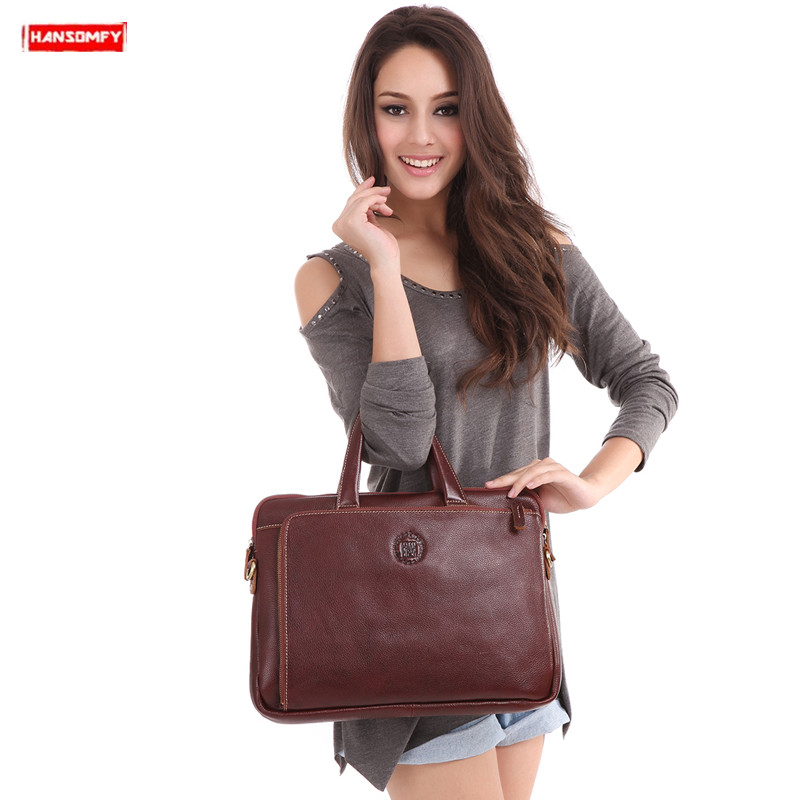 2019 New Genuine Leather Handmade Women Briefcase Suede Leather Female Laptop Handbags Business Female Document Shoulder Bags