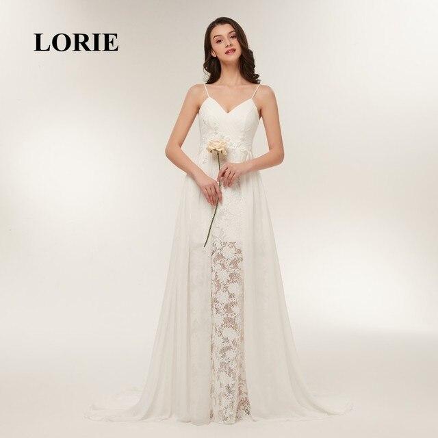 3b76c6946a LORIE Lace Wedding Dresses 2018 Spaghetti Strap Cheap Sweep Train White  Chiffon Bridal Dress Beach Wedding