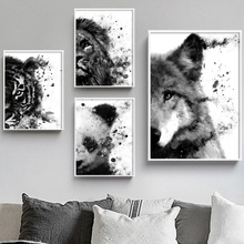 Panda Wolf Lion Tiger Fashion Animal Art Prints Wall Art Canvas Painting Posters And Prints Wall Pictures For Living Room Decor panda wolf tiger panda wall art canvas painting nordic posters and prints watercolor animals wall pictures for living room decor