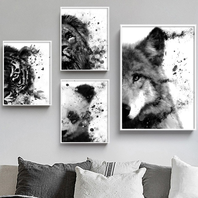Panda Wolf Lion Tiger Fashion Animal Art Prints Wall Art Canvas Painting Posters And Prints Wall Pictures For Living Room Decor