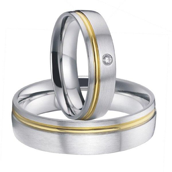 Ensembles de bagues de couples de bijoux de mariage en acier titane classiques faits à la main pour hommes et femmes 2015 alliances