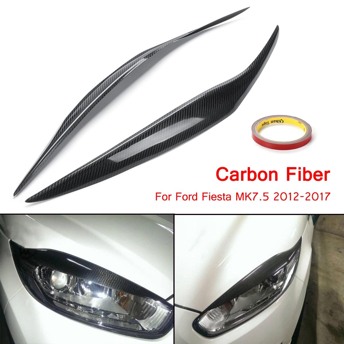 цена на Carbon Fiber Car Headlight Cover Eyebrow Eyelids For Ford/Fiesta MK7.5 2012-2017
