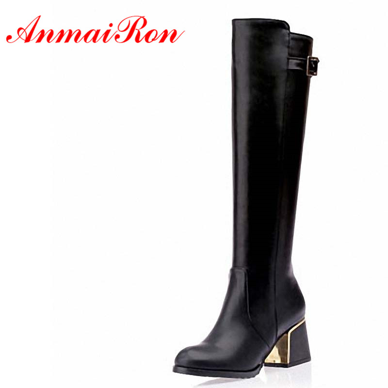 ANMAIRON Big Size 34-47 New Autumn Winter Boots Knee Boots for Women Shoes Motorcycle Boots Buckle Fashion Sexy Apricot Black