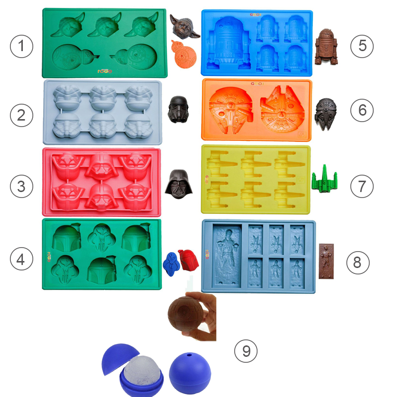 9st Star War Ice Cube Brickor Silikon Ice Mold Death Star Ice Mold Ice Form Candy Silicone Moulds Darth Vader Yoda Master