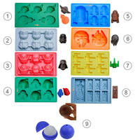 9pcs Star War Ice Cube Trays Silicone Ice Mold Death Star Ice Mold Ice Form Candy Silicone Molds Darth Vader Yoda Master