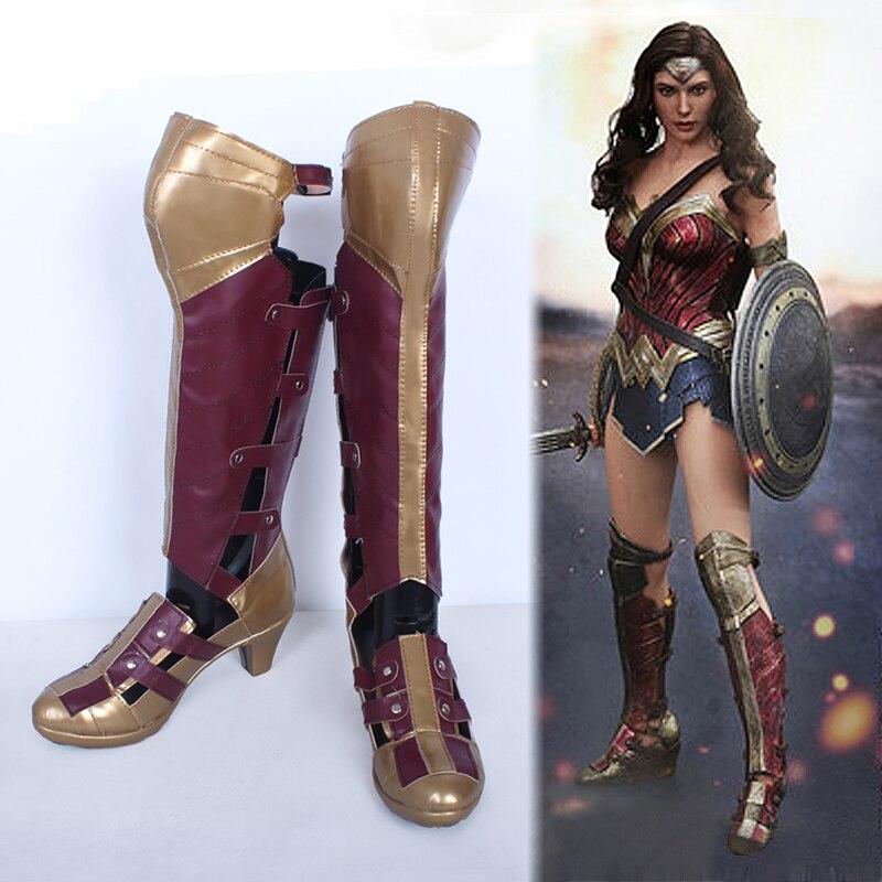 Film de super héros Batman v Superman Wonder Woman Diana Prince Long Bottes  Cosplay Chaussures Personnaliser Haute Qualité dans Chaussures de Nouveauté