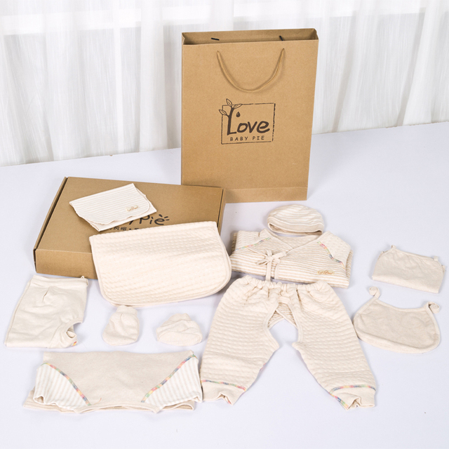 100 Gots Organic Cotton Nine Pieces Sets Of Baby Clothing Gift Box