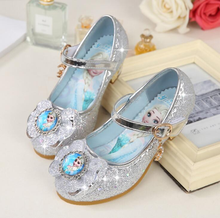 Image 4 - New Children Leather Sandals Child High Heels Girls Princess Summer Elsa Shoes Chaussure Enfants Sandals Party Anna Shoes-in Sneakers from Mother & Kids