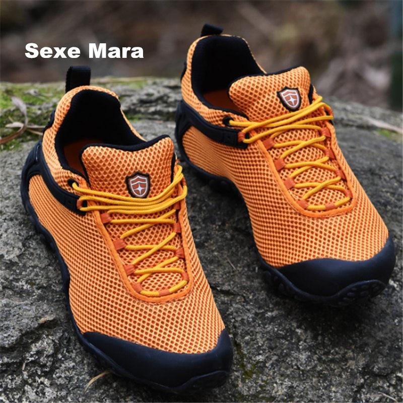 Size 36 46 men and women hiking shoes outdoor Net Sneakers woman font b oxford b