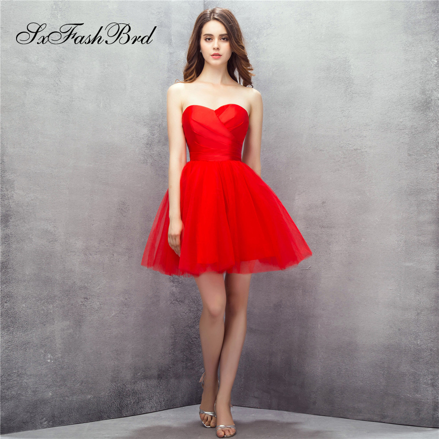 Robe Longue Sweetheart A Line Mini Short Red Tulle Formal Elegant   Dresses   for Women Evening Party   Prom     Dress   Vestido De Festa