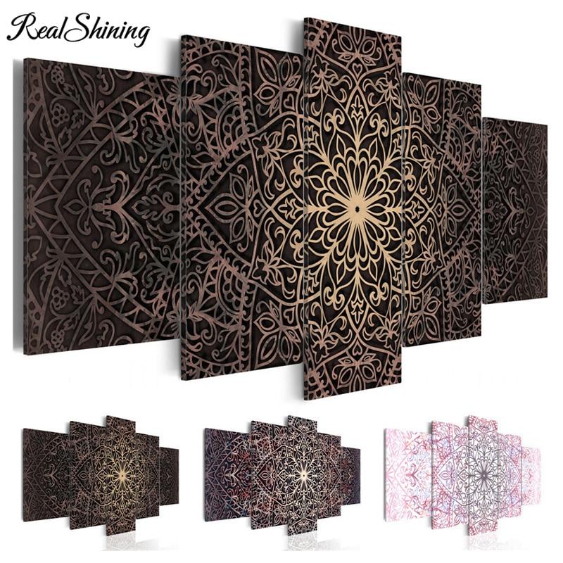 5D DIY Diamond embroidery Mandala 5pcs/set wealth and luxury diamond painting Cross Stitch full square Rhinestone mosaic FS3086