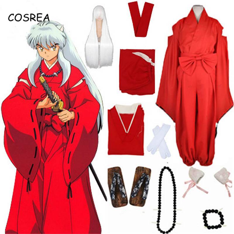 COSREA Anime Inuyasha Cosplay Costumes Red Japanese Kimono Men Robe Costume  Wigs Ears And Necklace For Halloween Party