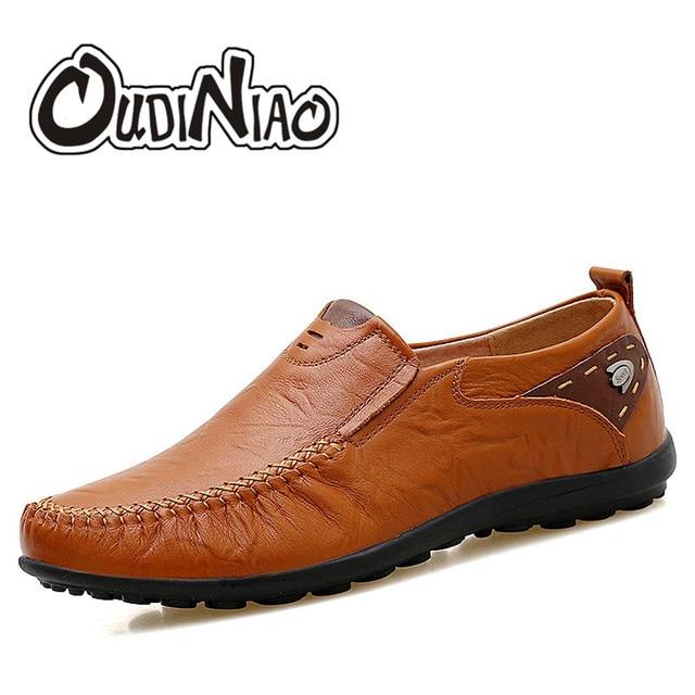 84dd59c02 OUDINIAO Mens Sapatos Tamanhos Grandes 47 Sapatos Mocassim De Couro de  Divisão homens Negros Homens Mocassins