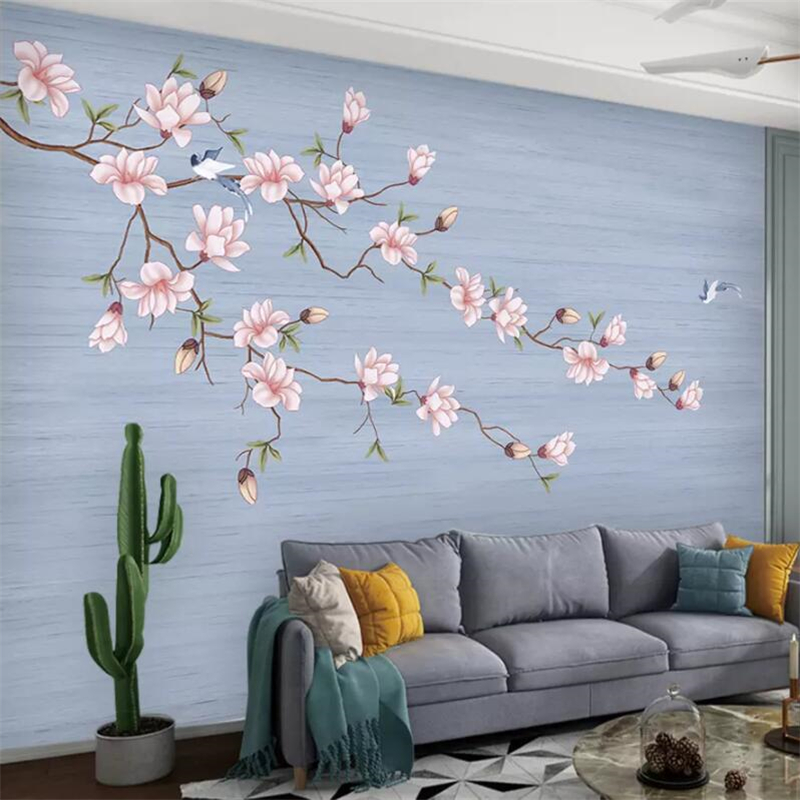 Beibehang Wallpaper Murals Custom Living Room Bedroom Chinese Magnolia Blossoms Rich Hand-painted Flowers And Birds Murals