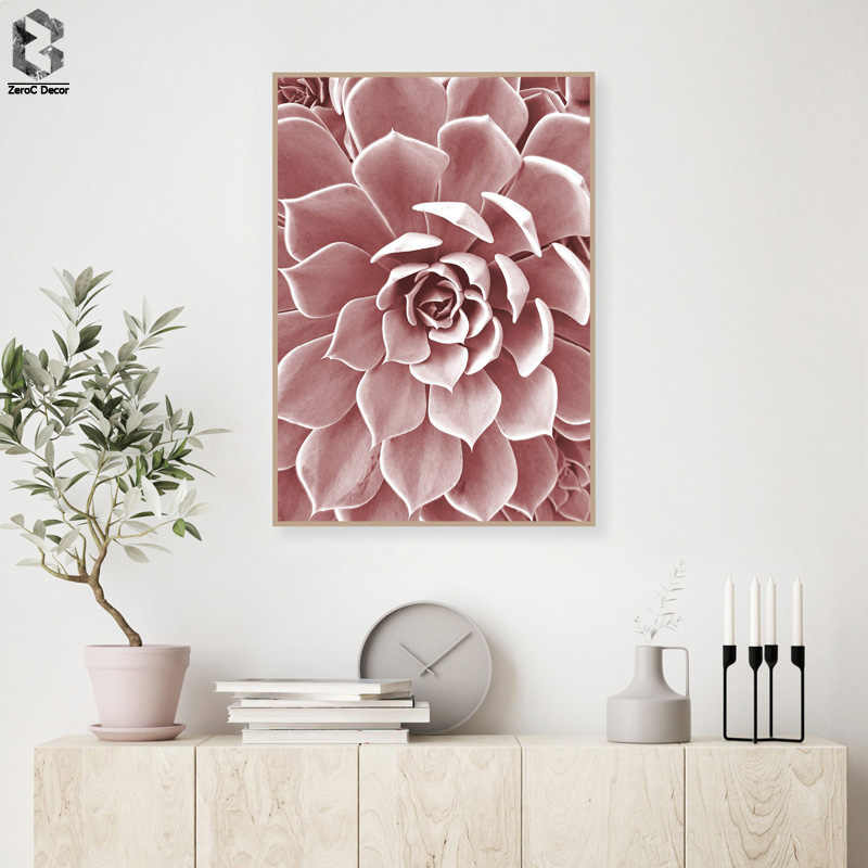 Blush Pink Flower Canvas Poster Nordic Style Cactus Floral Wall Art Print Painting Decoration Picture Scandinavian Home Decor
