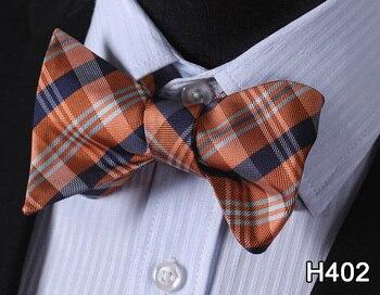 Dot Periksa 100% Silk Jacquard Woven Men Klasik Pernikahan Kupu-kupu Diri Bow Tie Mens BowTie # H4