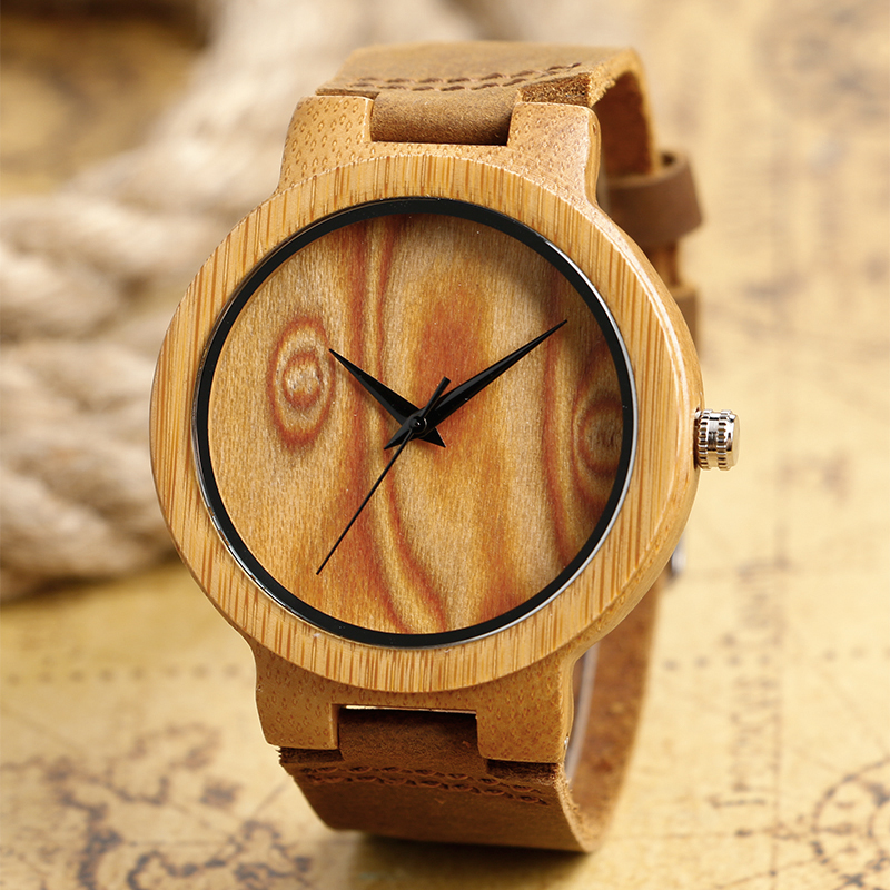 Online Sale Relogio Feminino Masculino Wood Watches Handmade Bambood Wristwatches With Genuine Leather Band Clock
