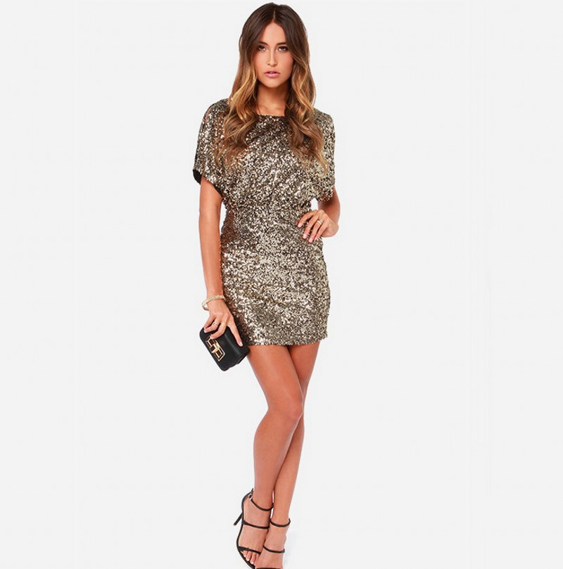 Women Short Sleeve Gold Sequin Sexy Dress Hollow Out Design Slim Fit ... 12e947baf593