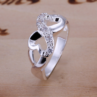 r049 Top Quality Silver Plated & Stamped 925 double heart with stone Ring for Women Men Gift Silver Jewelry Finger Ring